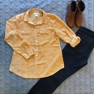 Loft Yellow Floral Button Down Blouse